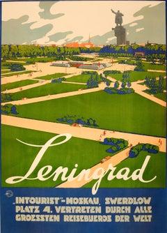 Rare Original Soviet Intourist Travel Poster - Leningrad / St Petersburg Russia