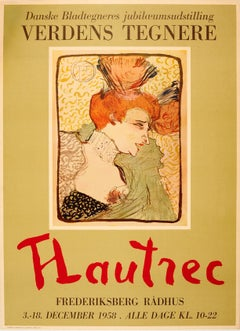 Original Vintage Art Exhibition Poster Featuring A Painting By Toulouse Lautrec