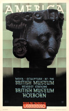 Original London Underground Poster America Maya Sculpture At The British Museum