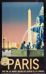 Original Vintage Chemins De Fer French Railway Travel Advertising Poster - Paris