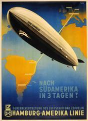 Original Hamburg America Line Poster - Graf Zeppelin To South America In 3 Days!