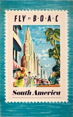 Original Vintage Travel Advertising Poster - Fly By BOAC - South America