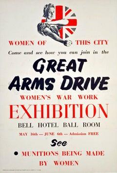 Original World War Two Poster - Great Arms Drive - Women's War Work Exhibition
