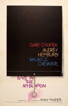 Original Vintage Movie Poster Love In The Afternoon Gary Cooper & Audrey Hepburn