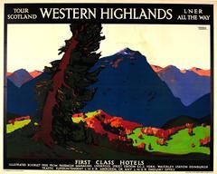 Original London & North Eastern Railway LNER Poster - Western Highlands Scotland