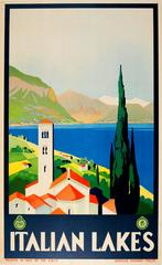 Original Vintage ENIT Travel Advertising Poster For The Italian Lakes