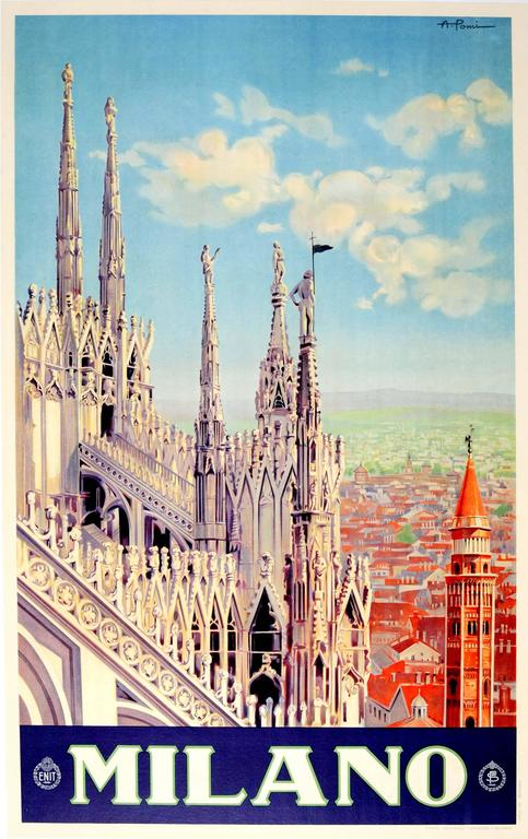 Alessandro Pomi - Original Vintage ENIT Travel Poster Advertising Milano Italy (Milan Cathedral) 1