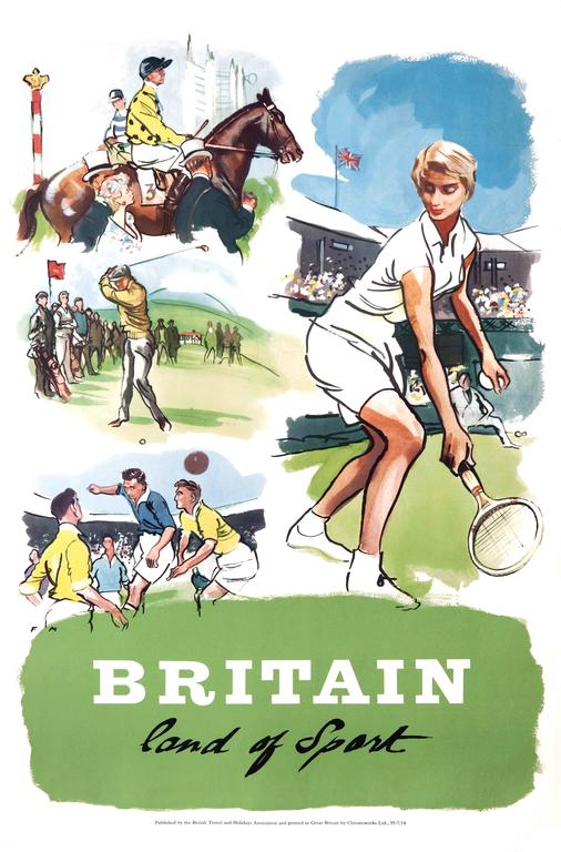 Unknown Print - Original Vintage Poster Britain Land Of Sport Tennis Horse Racing Golf Football