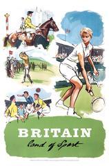 Original Vintage Poster Britain Land Of Sport Tennis Horse Racing Golf Football