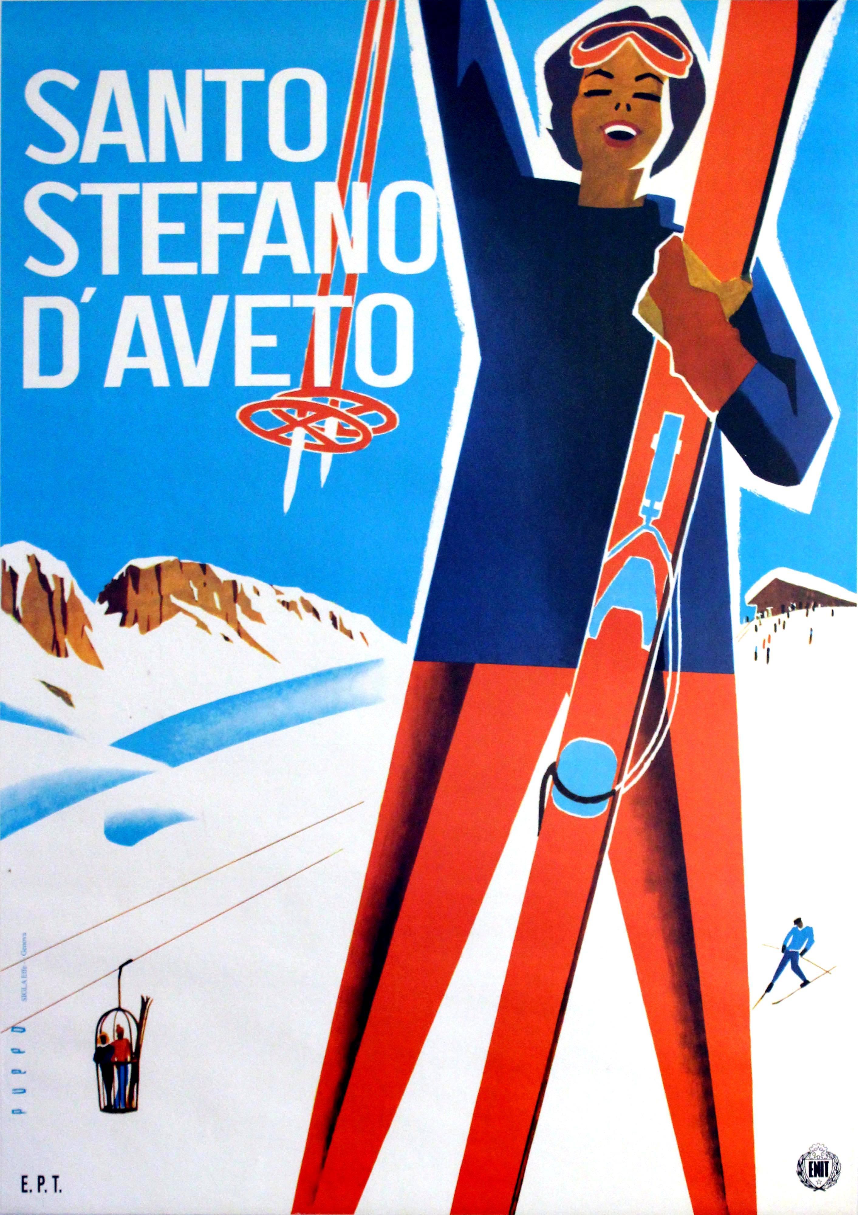 Original Vintage ENIT Skiing Poster Advertising Santo Stefano d'Aveto Italy