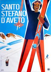 Original Vintage ENIT Skiing Poster Advertising Santo Stefano d'Aveto Italy