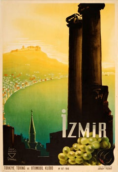 Rare Original Vintage Turkey Touring And Automobile Club Poster Promoting Izmir