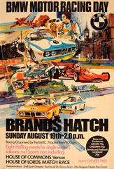 Original Vintage Sports Car Poster For The BMW Motor Racing Day At Brands Hatch