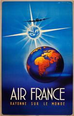 Original Vintage Air France Travel Advertising Poster - Shining On The World