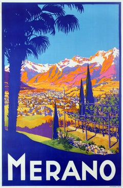 Original Vintage Travel Poster Advertising Merano In The Tyrol Region Italy