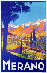 Unknown - Original Vintage Travel Poster Advertising Merano In The Tyrol Region, Italy