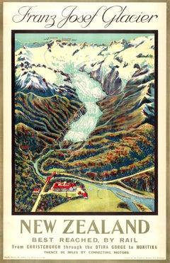 Original Vintage Rail Travel Advertising Poster Franz Josef Glacier New Zealand