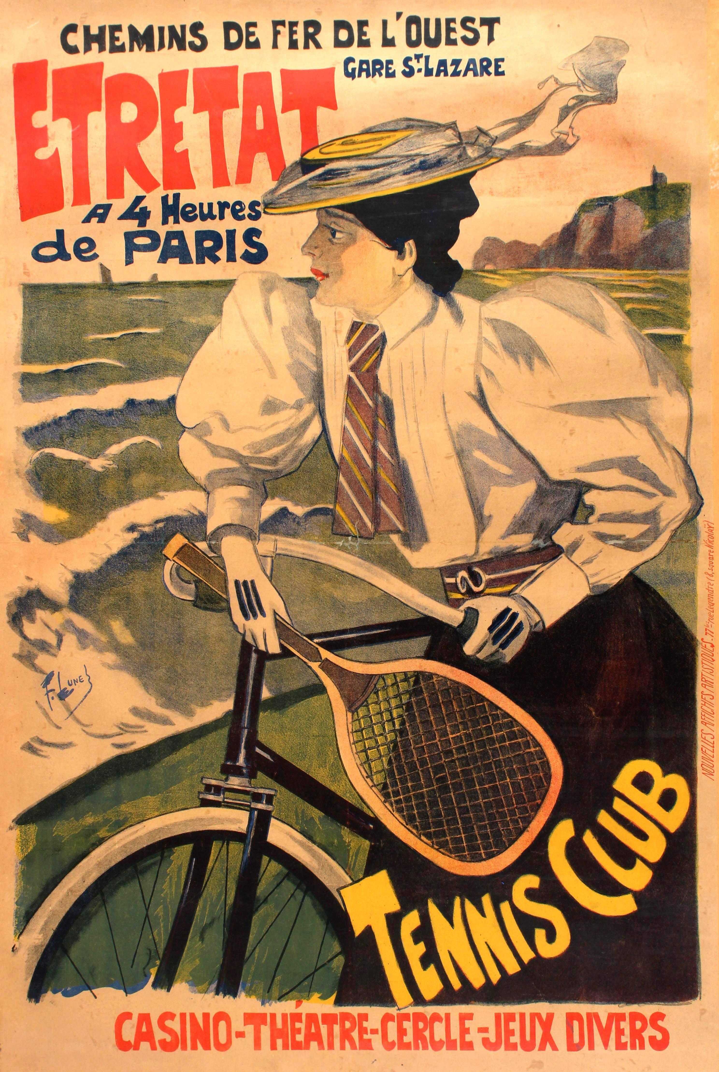 Original Antique Chemins De Fer De L'Ouest Paris Etretat Railway Poster - Tennis