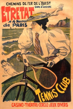 Original Antique Chemins De Fer De L'Ouest Paris Etretat Railway Poster - Tennis