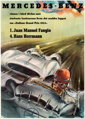 Original Italian Grand Prix Mercedes Benz Victory Poster By Fangio And Herrmann