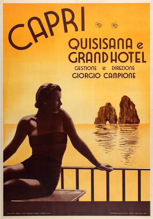 Original Vintage Travel Poster Advertising The Grand Hotel Quisisana Capri Italy