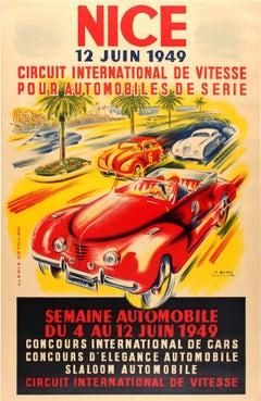 Original Vintage Car Week Event Poster For The Nice International Speed Circuit