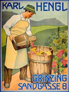 Original Early Vintage Advertising Poster For The Austrian Wine Maker Karl Hengl