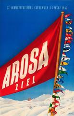 Original Vintage Skiing Event Poster For The 37 Schweizerisches Skirennen Arosa