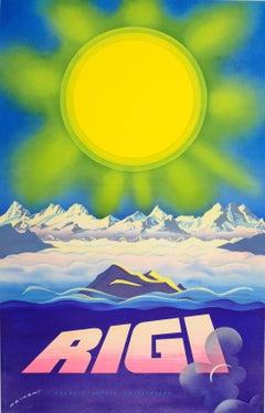 Original Vintage Travel Poster Advertising Rigi - Mountains In The Swiss Alps