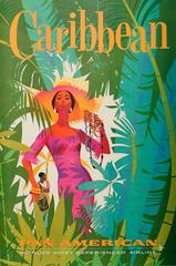 Original Vintage Pan American (Pan Am) Travel Poster Advertising The Caribbean