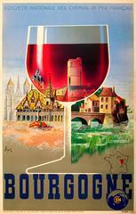 Original Vintage SNCF Railway Travel Poster Advertising The Burgundy Wine Region