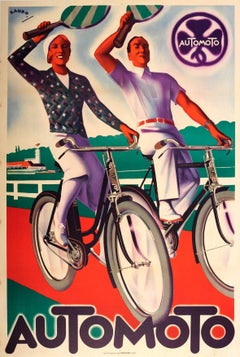 Original Vintage Art Deco Poster Advertising The French Bicycle Company Automoto