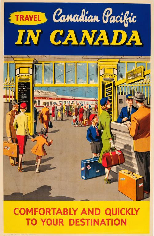 Original Vintage Travel Advertising Poster - Travel Canadian Pacific In Canada