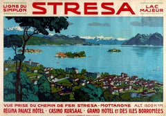 Original Early Simplon Railway Travel Poster For Stresa On Lake Maggiore Italy