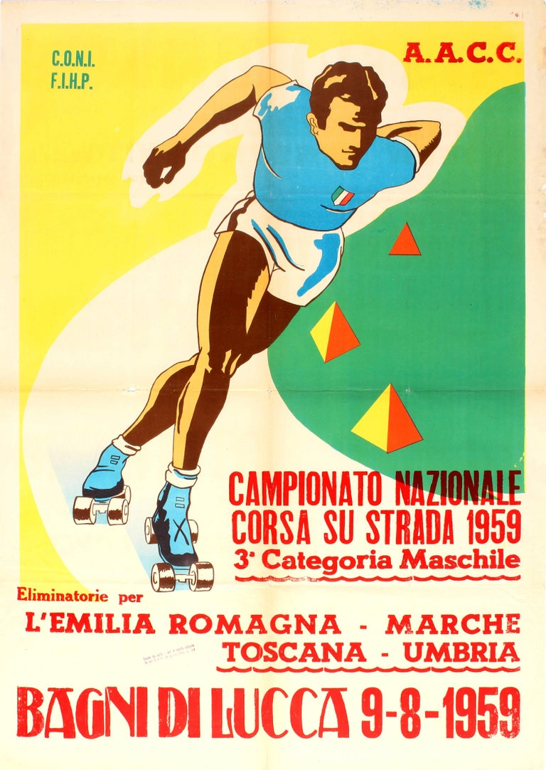 Unknown Print - Original Sport Poster For The National Championship Road Roller Skating Races