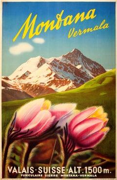 Original Vintage Travel Poster Advertising Vermala Montana - Valais Switzerland