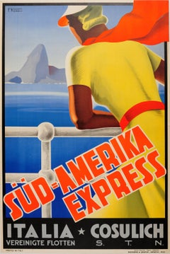Original Cruise Line Travel Poster Advertising Express Services To South America