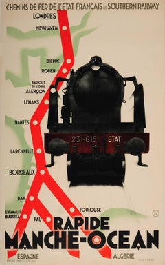Rare Original French National And Southern Railway Cross Channel Services Poster