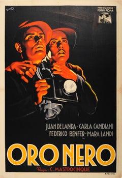 Original Vintage Movie Poster For An Italian Drama Film - Oro Nero / Black Gold