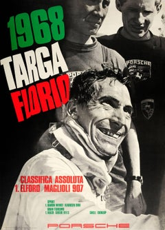 Original Porsche Racing Car Poster For Elford & Maglioli's Targa Florio Victory