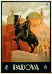 Original Vintage ENIT Travel Advertising Poster By Dudovich For Padova In Italy