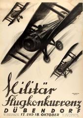 Large Original Swiss Military Flight Competition Poster - Militar Flugkonkurrenz