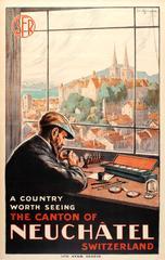 Original Vintage SFR Swiss Railway Poster For Neuchatel Featuring A Watch Maker