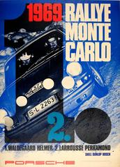 Original Porsche 911S Car Poster For Their Victory At The 1969 Monte Carlo Rally