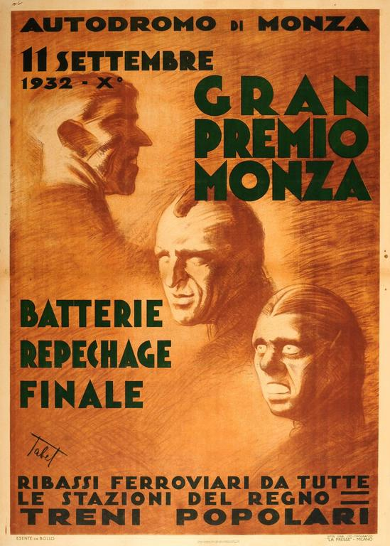 Unknown Print - Original Vintage Formula One Car Racing Event Poster For The Monza Grand Prix