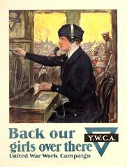 Original WW1 Y.W.C.A. United War Work Campaign Poster: Back Our Girls Over There