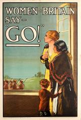 "Original Iconic World War One Propaganda Poster - Women Of Britain Say ""Go!"""