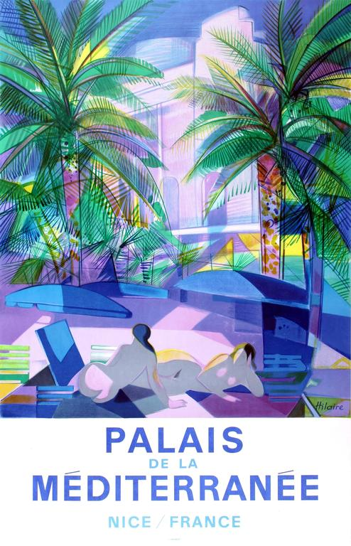 Camille Hilaire Print - Original Vintage Advertising Poster For Palais de la Mediterranee Nice / France