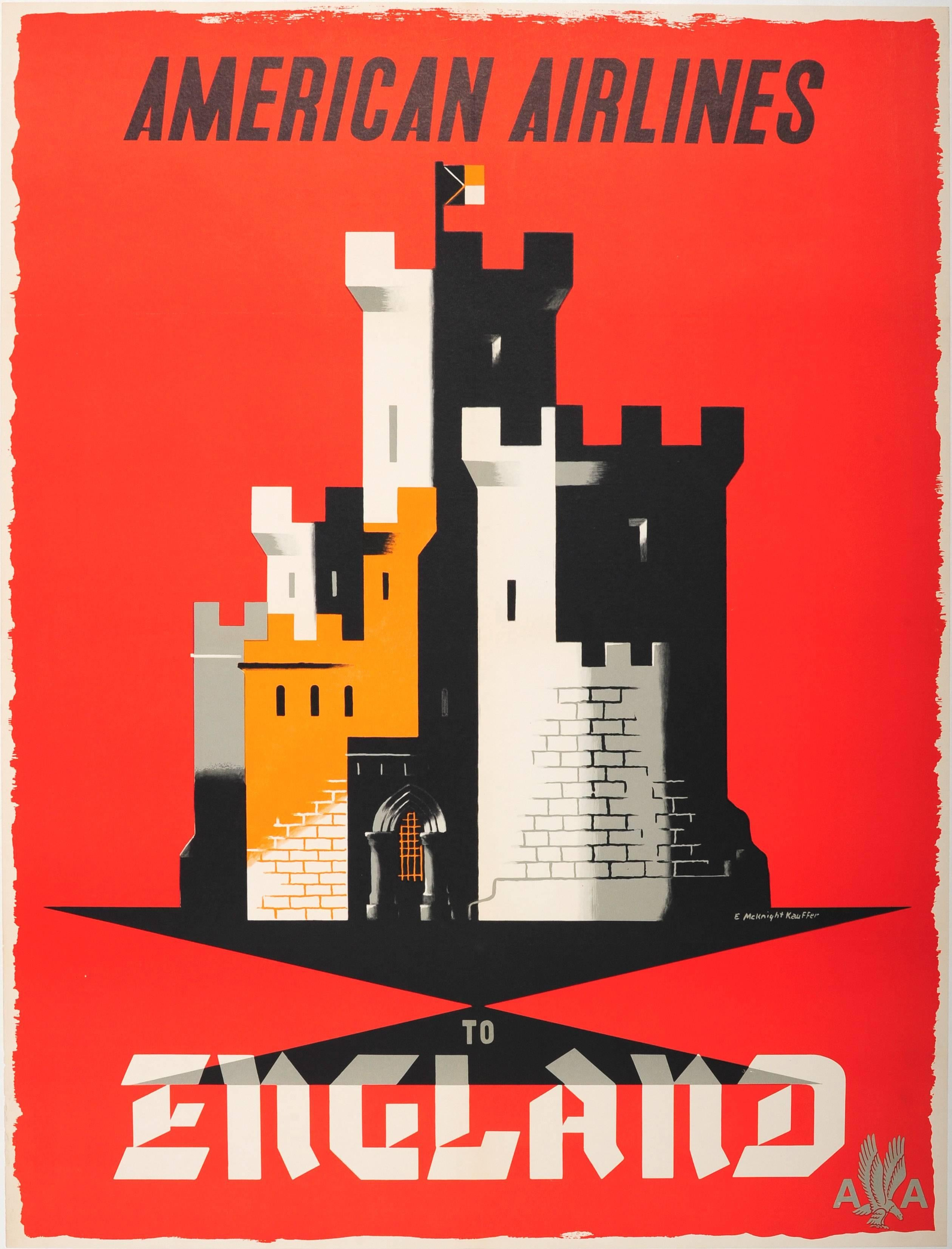 Original Vintage Travel Poster By McKnight Kauffer American Airlines To England