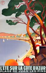 Original Art Deco PLM Railway Poster For Summer On The Cote d'Azur Juan-Les-Pins